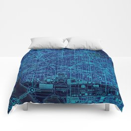 Washington West ols map, blue art print for man cave Comforters