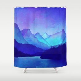Cerulean Blue Mountains Shower Curtain