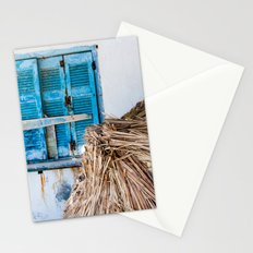 Distressed Blue Wooden Shutters and Beach Umbrella in Crete. Stationery Cards