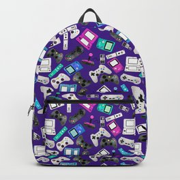 Watercolor Gaming Video Game Devices Pattern Purple Backpack
