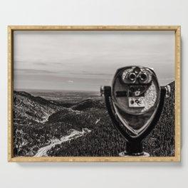 Mountain Tourist Binoculars Black and White Serving Tray