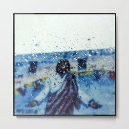 """the rain falls hard on a humdrum town "" Metal Print"