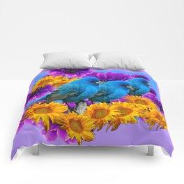 THREE BLUE BIRDS SUNFLOWER ANEMONE GARDEN Comforters