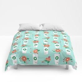 Coffee lovers mint floral bouquet gift idea for sbucks fan java pattern kitchen food Comforters