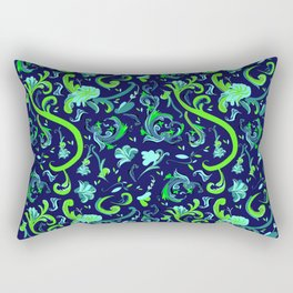 Swirly Trendy_Blue Rectangular Pillow