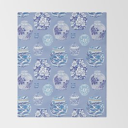 Chinoiserie Ginger Jar Collection No.6 Throw Blanket