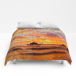 California Dreaming (cropped) ~ Huntington Beach Pier Comforters