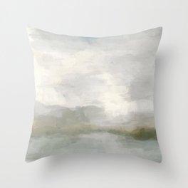 Modern Abstract Painting, Light Teal, Sage Green, Gray Cloudy Weather Digital Prints Wall Art, Ocean Throw Pillow