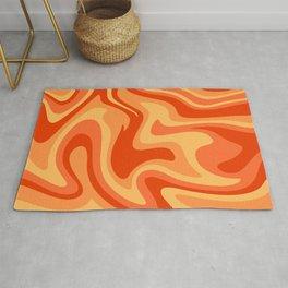 Mid Century Modern Liquid Fire Abstract // Red, Orange, Mustard Yellow Rug