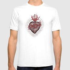 Bleeding Heart MEDIUM Mens Fitted Tee White