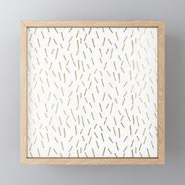 Elegant geometrical faux gold stripes confetti Framed Mini Art Print