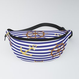 Nautical pattern with gold anchor, ship steering wheel Fanny Pack