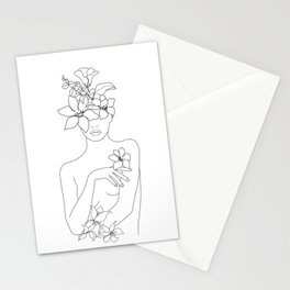 Minimal Line Art Woman with Flowers IV Stationery Cards
