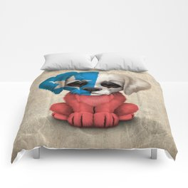 Cute Puppy Dog with flag of Chile Comforters