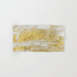 Marble - Glittery Gold Marble and White Pattern Hand & Bath Towel