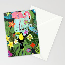 Parrots, Toucan and Flamingo Tropical Birds Tropical Forest Pattern Stationery Cards