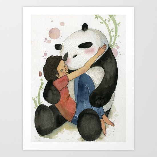 Cuddling with Panda Art Print