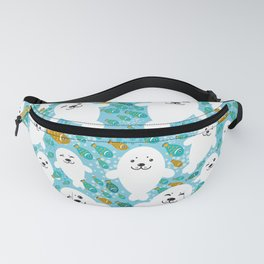 White cute fur seal and fish in water Fanny Pack