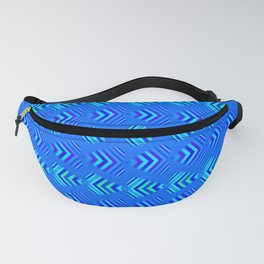 Pattern of intersecting blue hearts and sea bands. Fanny Pack