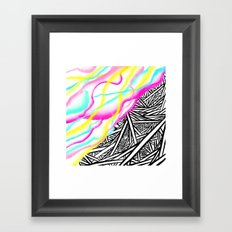 Abstract rainbow neon watercolor paint contrast black white geometric hand drawn stripes pattern Framed Art Print