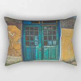 Turquoise Wooden Door - Aged & Worn Rectangular Pillow