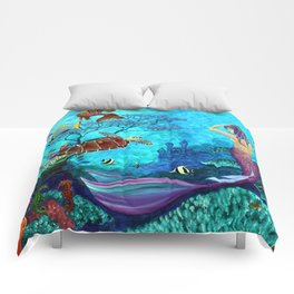 A Fish of a Different Color - Mermaid and seaturtle Comforters