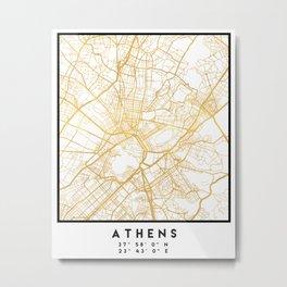 ATHENS GREECE CITY STREET MAP ART Metal Print