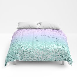 Sparkling MERMAID Girls Glitter Heart #1 #decor #art #society6 Comforters