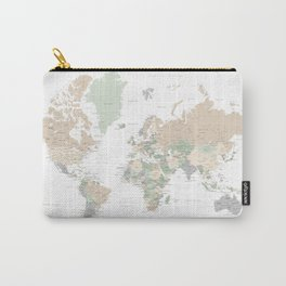 "World map with cities, ""Anouk"" Carry-All Pouch"