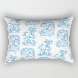 Blue Bawdy Toile Rectangular Pillow