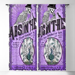 Vintage 1871 Purple Absinthe Liquor Skeleton Elixir Aperitif Cocktail Alcohol Advertisement Poster Blackout Curtain