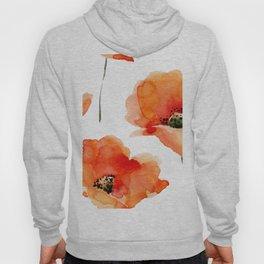 Modern hand painted orange watercolor poppies pattern Hoody