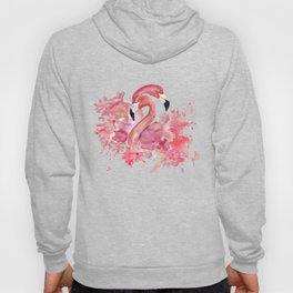 Tropical Birds- Flamingo In LOVE with exotic flowers Hoody