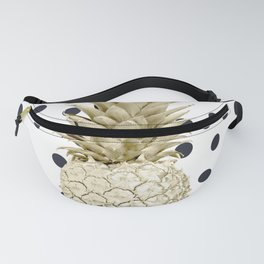 Gold Pineapple on Black and White Polka Dots Fanny Pack