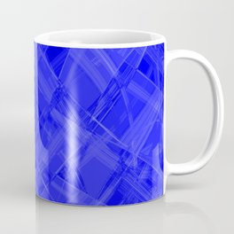 Chaotic blue ribbons with a pattern of mirrored chess rhombuses. Coffee Mug