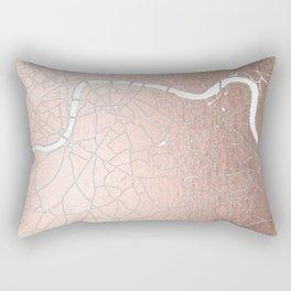 RoseGold on White London Street Map II Rectangular Pillow