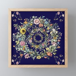 Circle of Life in Navy Blue Framed Mini Art Print