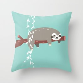 Sloth card - just 5 more minutes Throw Pillow