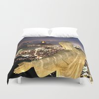 christ Duvet Covers featuring Christ the Redeemer ✝ Statue  by Barrier Style & Design