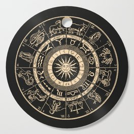 Vintage Zodiac & Astrology Chart   Charcoal & Gold Cutting Board