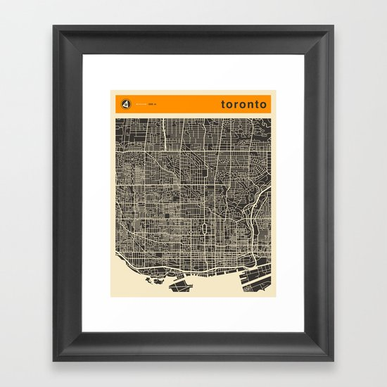 TORONTO MAP Framed Art Print