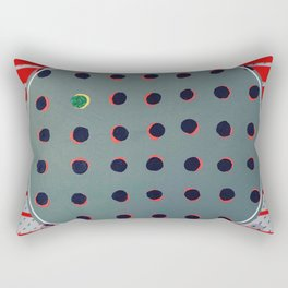 Green floats on yellow - red graphic Rectangular Pillow