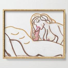"BLOW JOB ART ""Giving Head"" Original Painting oral sex big dick sucking fellatio erotica hard on penis cock erection sexy nudes male Serving Tray"