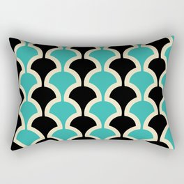 Classic Fan or Scallop Pattern 442 Black and Turquoise Rectangular Pillow