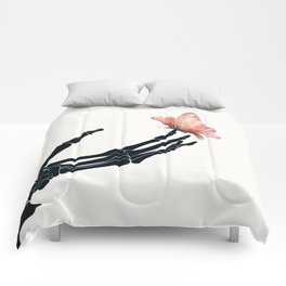 Butterfly on Skeleton Hand Comforters