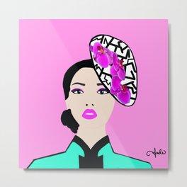 Orchid Hat Metal Print