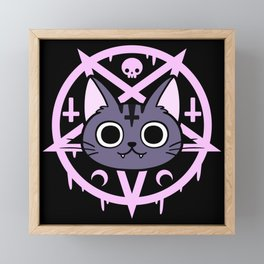 Black Meowgic 04 Framed Mini Art Print