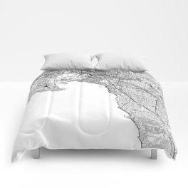 Melbourne White Map Comforters