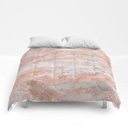 Martino rose gold marble Comforters