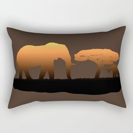 Elephant Sunset Rectangular Pillow